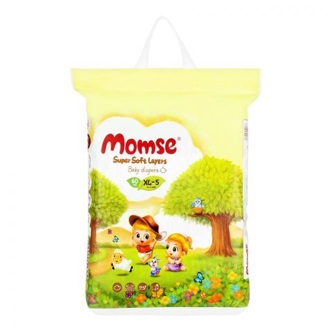 Momse Baby Diapers, XL-5, 12-17 KG, 60-Pack