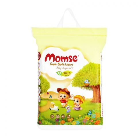 Momse Baby Diapers, XXL-6, 15+ KG, 52-Pack