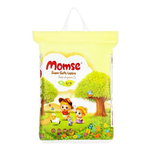 Momse Baby Diapers, L-4, 9-14 KG, 64-Pack