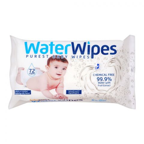 Baby Ganics 99.9% Purest Water Wipes, 72-Pack