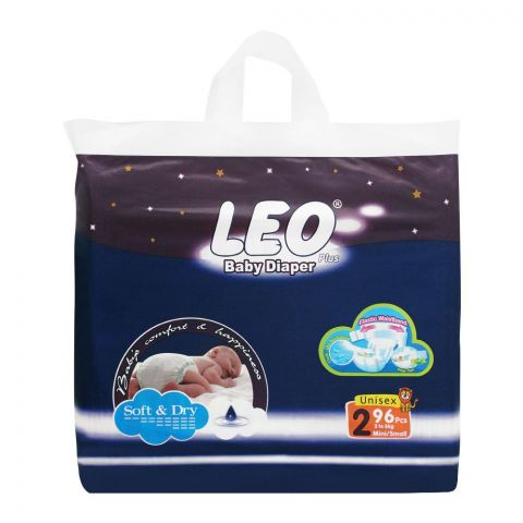 Leo Plus Soft & Dry Baby Diaper, Small No. 2, 3-6Kg, 96-Pack
