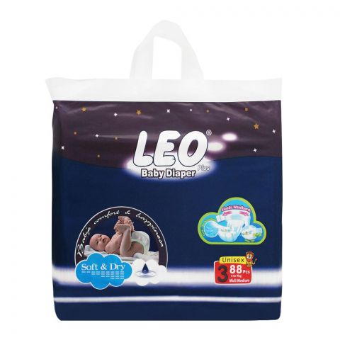 Leo Plus Soft & Dry Baby Diaper Medium No. 3, 4-9Kg, 88-Pack