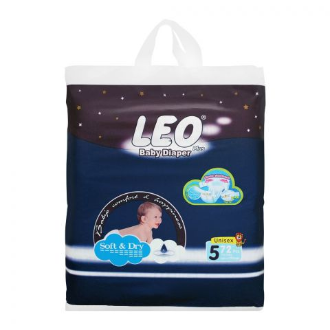 Leo Plus Soft & Dry Baby Diaper XL No. 5, 11-25Kg, 72-Pack