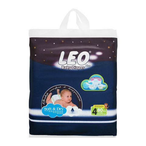 Leo Plus Soft & Dry Baby Diaper Large No. 4, 7-18Kg, 80-Pack