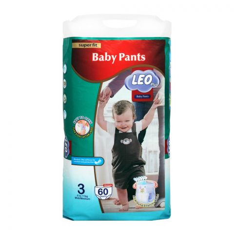 Leo Plus Super Fit Baby Pants Medium No. 3, 6-11Kg, 60-Pack