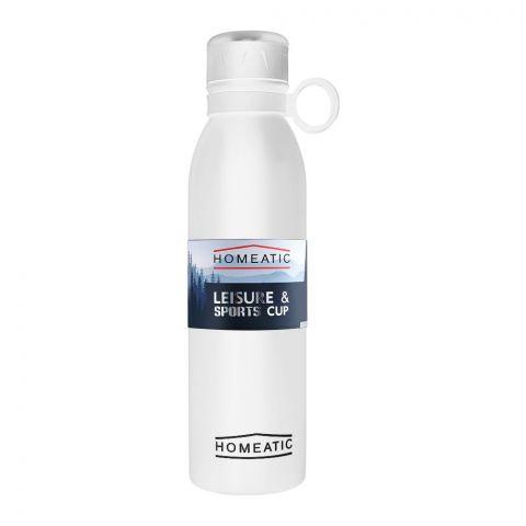 Homeatic Steel Sports Water Bottle, White, 750ml, KA-030