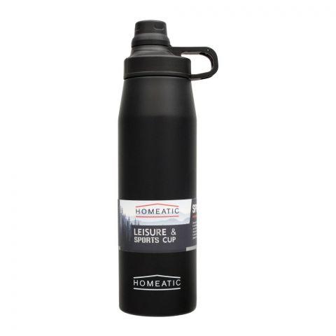 Homeatic Steel Sports Water Bottle, Black, 900ml, KD-1006