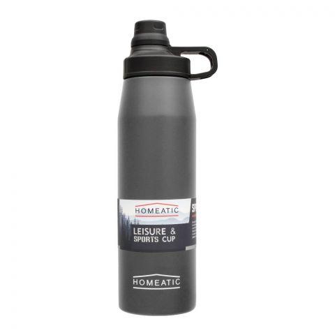 Homeatic Steel Sports Water Bottle, Grey, 900ml, KD-1006
