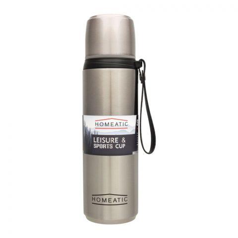Homeatic Steel Sports Water Bottle, Silver, 750ml, KD-1015