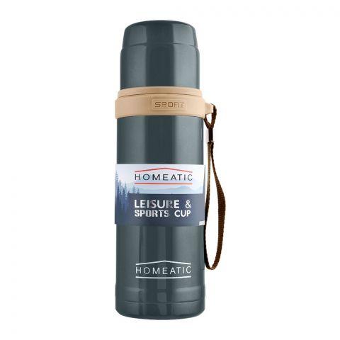 Homeatic Steel Sports Water Bottle, Grey, 600ml, KD-596