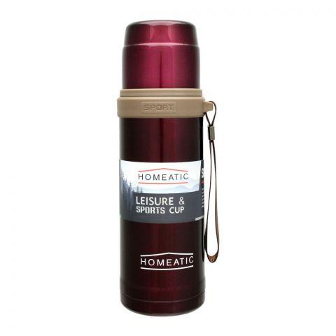 Homeatic Steel Sports Water Bottle, Maroon, 600ml, KD-596