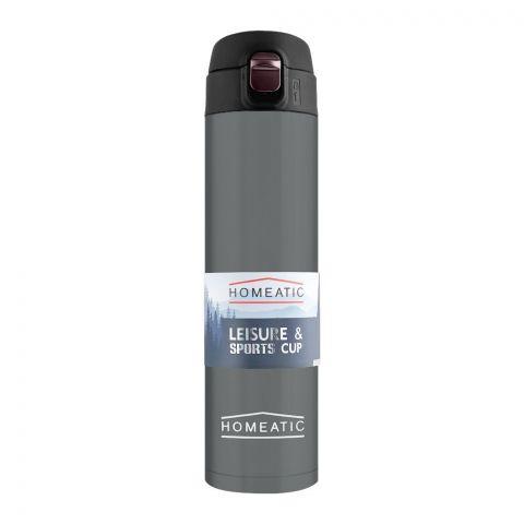 Homeatic Steel Sports Water Bottle, Grey, 500ml, KD-837