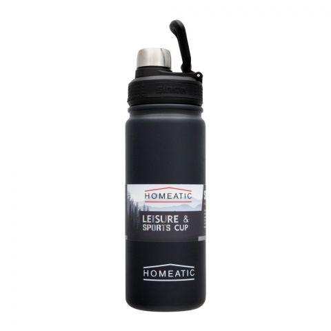 Homeatic Steel Sports Water Bottle, Black, 650ml, KD-859