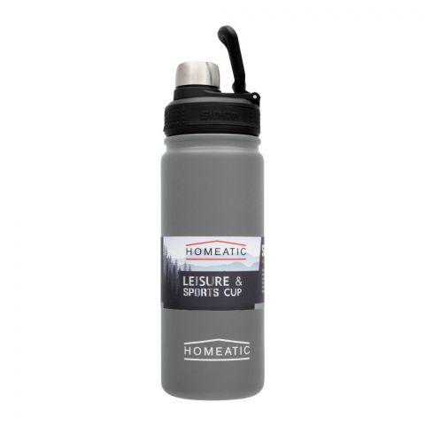 Homeatic Steel Sports Water Bottle, Grey, 650ml, KD-859