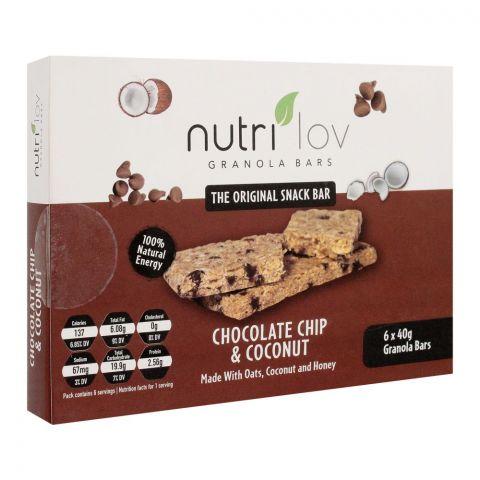 Nutri Lov Granola Bars, Chocolate Chip & Coconut, 6x40g