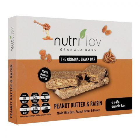 Nutri Lov Granola Bars, Peanut Butter & Raisin, 6x45g