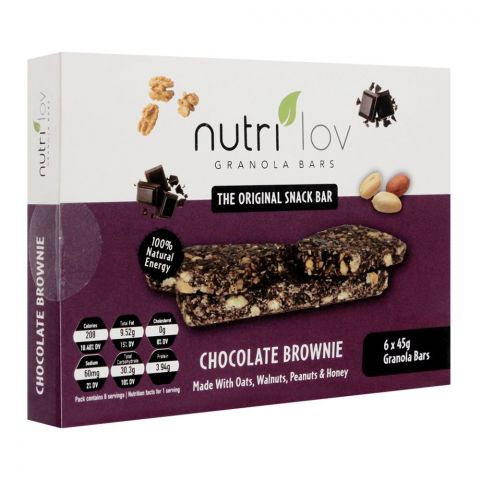 Nutri Lov Granola Bars, Chocolate Brownie, 6x45g