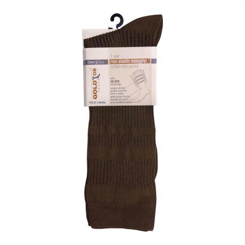 Goldtoe Non Elastic Easygrip Cotton Rich Socks, 1 Pair, Light Brown