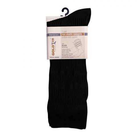 Goldtoe Non Elastic Easygrip Cotton Rich Socks, 1 Pair, Black