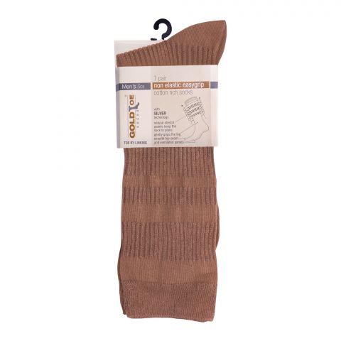 Goldtoe Non Elastic Easygrip Cotton Rich Socks, 1 Pair, Beige