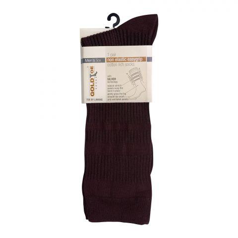 Goldtoe Non Elastic Easygrip Cotton Rich Socks, 1 Pair, Brown