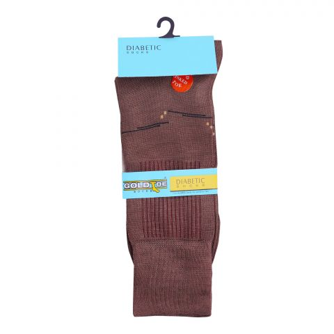 Goldtoe Diabetic Mercerized Socks, 1 Pair, Light Brown
