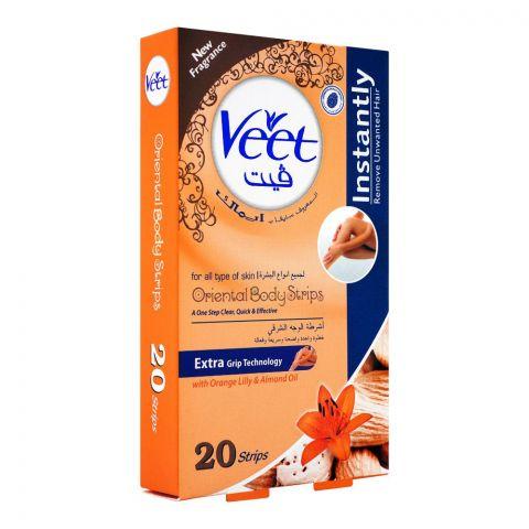 Veet Oriental Body Wax Strips, Orange Lily & Almond Oil, All Skin Types, 20+2-Pack