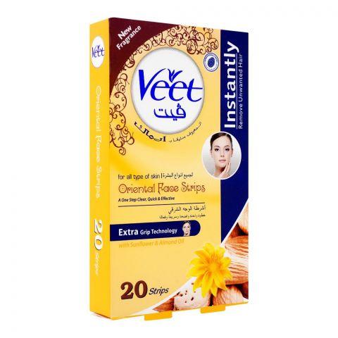 Veet Oriental Face Wax Strips, Sunflower & Almond Oil, All Skin Types, 20-Pack