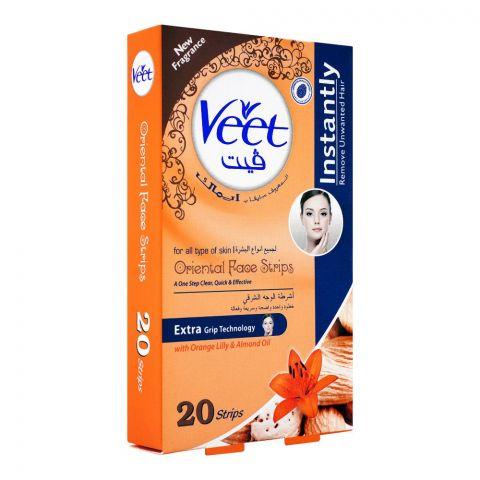 Veet Oriental Face Wax Strips, Orange Lily & Almond Oil, All Skin Types, 20-Pack