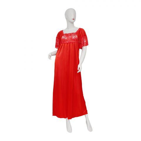 Belleza Nighty Single Long Gown, Red, 011