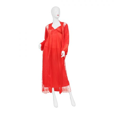 Belleza Nighty Inner + Gown Set, Red, 040