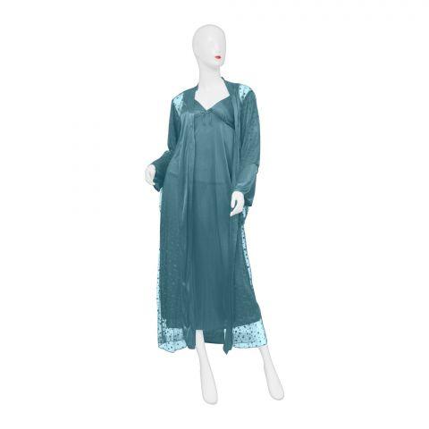 Belleza Nighty Inner + Gown Set, Green, 040