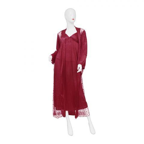 Belleza Nighty Inner + Gown Set, Maroon, 040