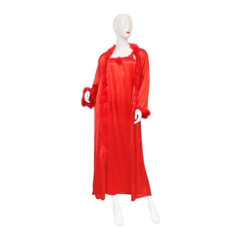 Belleza Nighty Inner + Gown Set, Red, 042