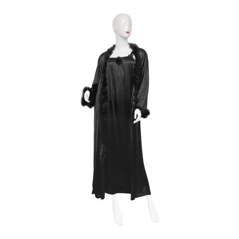 Belleza Nighty Inner + Gown Set, Black, 042
