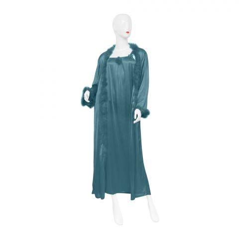 Belleza Nighty Inner + Gown Set, Green, 042