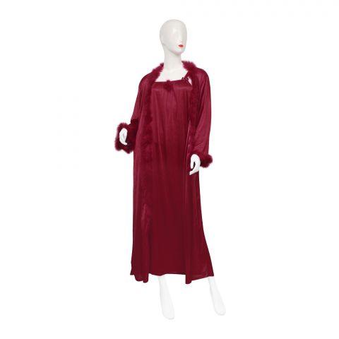 Belleza Nighty Inner + Gown Set, Maroon, 042