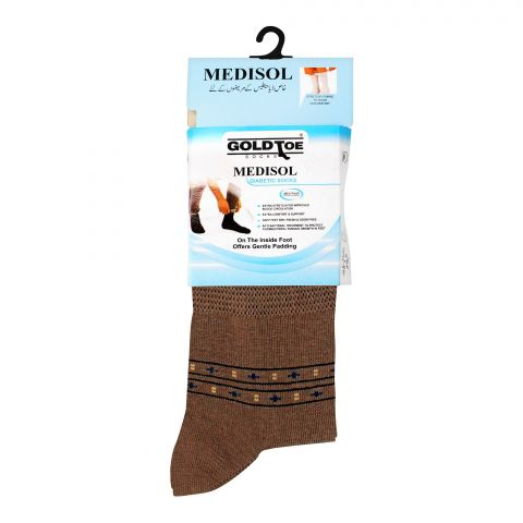 Goldtoe Medisol Diabetic Cotton Socks, Light Brown