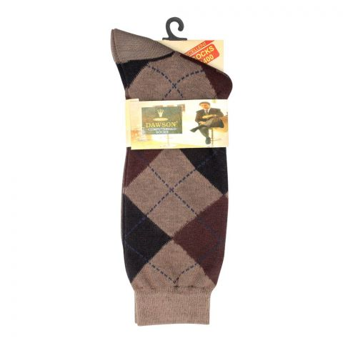 Dawsons Multi Design Socks, Light Brown