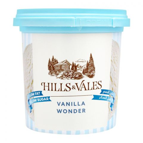 Hills & Vales Vanilla Wonder Ice Cream, Low Fat, Low Sugar, 125ml