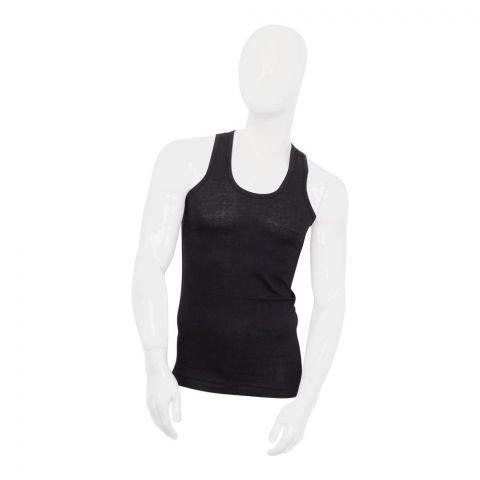 Knit Line Summer Style Men's Vest, Sando, Black
