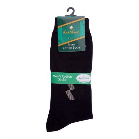 Knit Line Men's Computerized Knitted Cotton Socks, Black