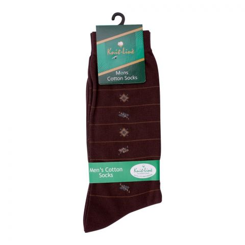 Knit Line Men's Computerized Knitted Cotton Socks, Dark Brown