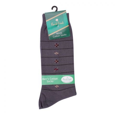 Knit Line Men's Computerized Knitted Cotton Socks, Grey