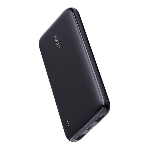 Aukey Basix Slim Ultra Thin Power Bank, 10000mAh, With 18W PD, Black, PB-N73S