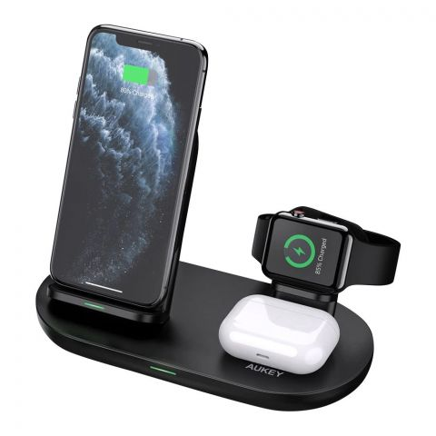 Aukey Aircore Series 3-in-1 Wireless Charging Station, Black, LC-A3