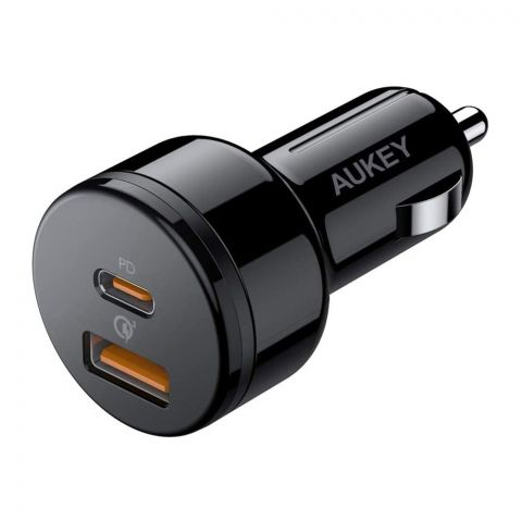 Aukey Essential 36W Dual-Port Car Charger, Black, CC-Y18