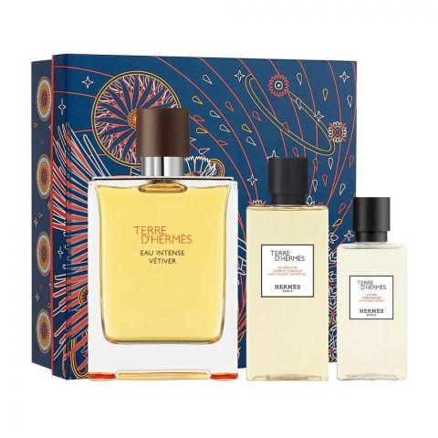 Terre D' Hermes Eau Intense Vetiver Gift Set, EDP 100ml + Shower Gel + After Shave