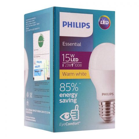 Philips Essential LED Bulb, 15W, E27 Cap, Warm White