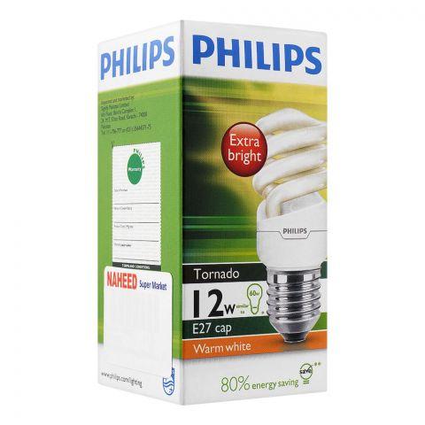Philips Tornado Energy Saver Bulb, 12W E27 Cap, Warm White